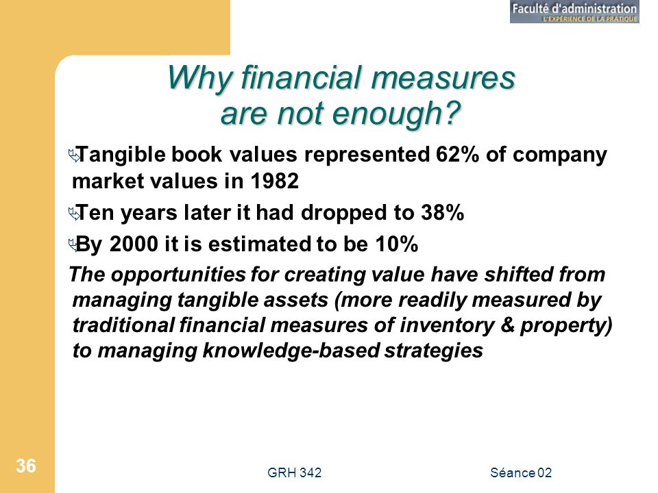 GRH 342Séance 02 36 Why financial measures are not enough? Tangible book values represented 62% of company market values in 1982 Ten years later it ha