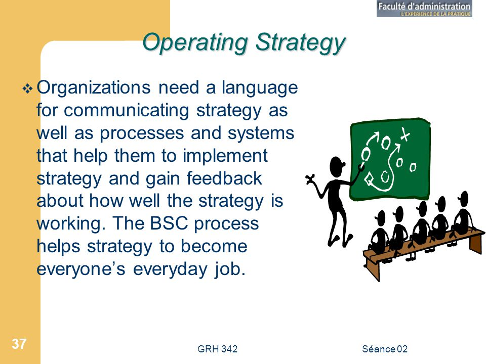 GRH 342Séance 02 37 Operating Strategy Organizations need a language for communicating strategy as well as processes and systems that help them to imp