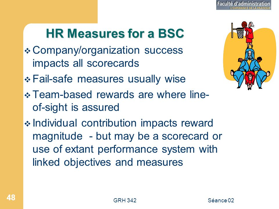 GRH 342Séance 02 48 HR Measures for a BSC Company/organization success impacts all scorecards Fail-safe measures usually wise Team-based rewards are where line- of-sight is assured Individual contribution impacts reward magnitude - but may be a scorecard or use of extant performance system with linked objectives and measures