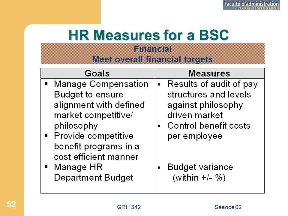 GRH 342Séance 02 52 HR Measures for a BSC Financial Meet overall financial targets