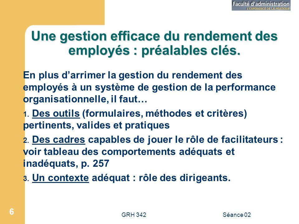 GRH 342Séance 02 6 Une gestion efficace du rendement des employés : préalables clés.