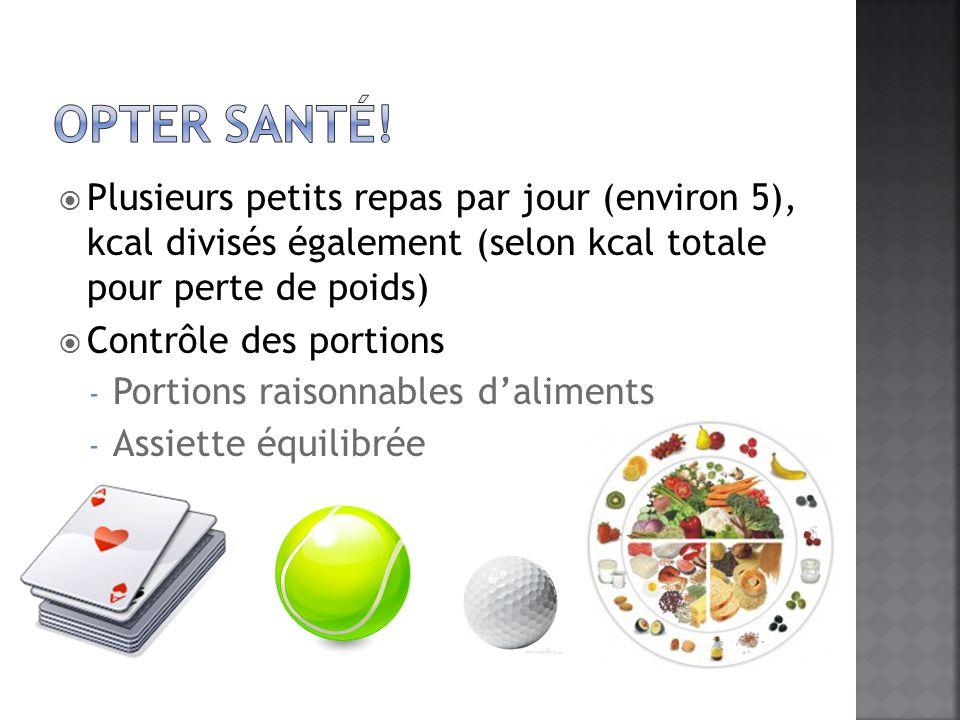 Plusieurs petits repas par jour (environ 5), kcal divisés également (selon kcal totale pour perte de poids) Contrôle des portions - Portions raisonnab