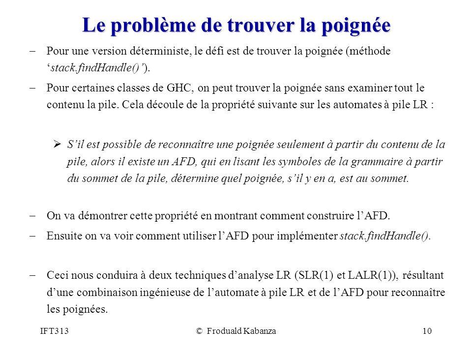 IFT313© Froduald Kabanza10 Le problème de trouver la poignée Pour une version déterministe, le défi est de trouver la poignée (méthodestack.findHandle()).