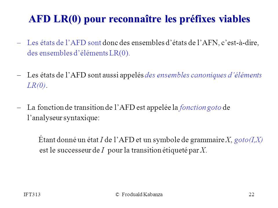 IFT313© Froduald Kabanza22 AFD LR(0) pour reconnaître les préfixes viables Les états de lAFD sont donc des ensembles détats de lAFN, cest-à-dire, des ensembles déléments LR(0).