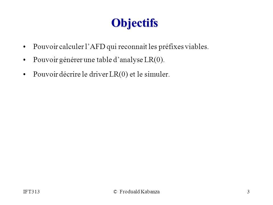 IFT313© Froduald Kabanza34 Analyseur LR(0) (2/2) while (true) { if (la pile contient I0S et lentrée est $ (vide)) return true; if (létat au sommet de la pile contient un élément A.