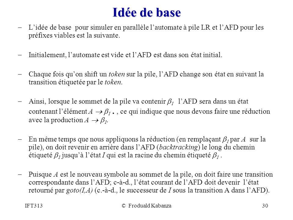 IFT313© Froduald Kabanza30 Idée de base Lidée de base pour simuler en parallèle lautomate à pile LR et lAFD pour les préfixes viables est la suivante.