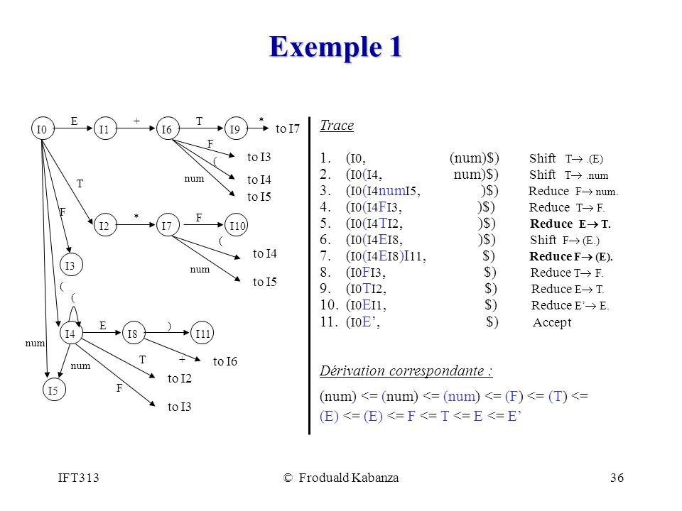IFT313© Froduald Kabanza36 Exemple 1 Trace 1.( I0, (num)$) Shift T.(E) 2.
