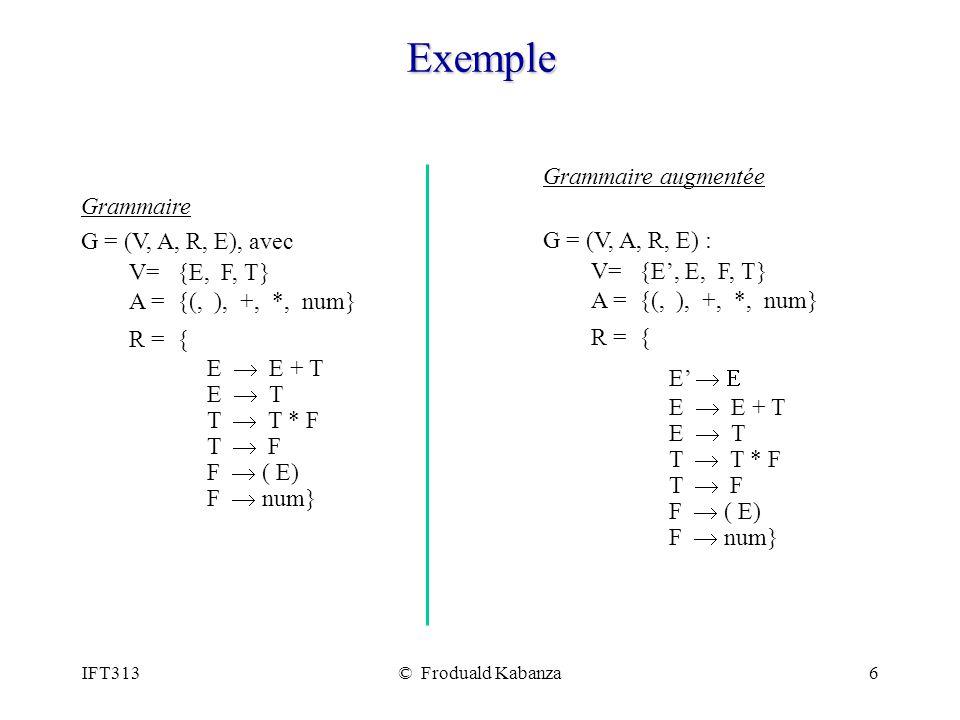 IFT313© Froduald Kabanza27 Algorithme pour les états de lAFD LR(0) Algorithm Items(G) variables : G (entrée : grammaire augmentée avec symbole de départ S) et C (résultat : ensembles des états de lAFD.) Output : C et la fonction goto.