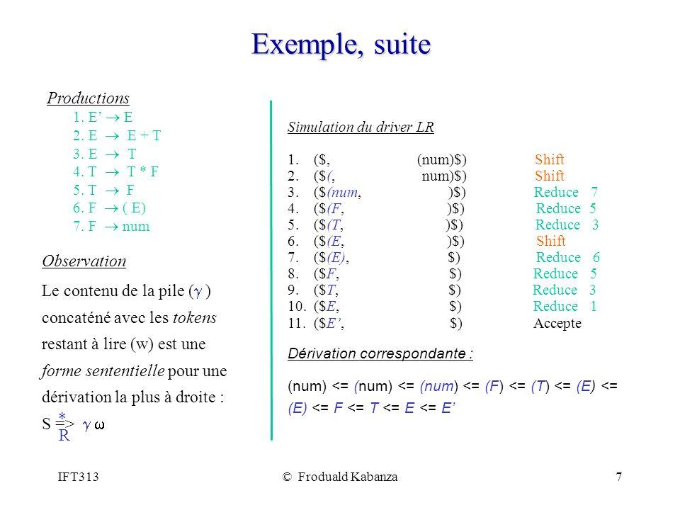 IFT313© Froduald Kabanza18 Exemple 2/3 Grammaire E E E+T E T T*F T F F (E) F num E E T.F T T*F E.