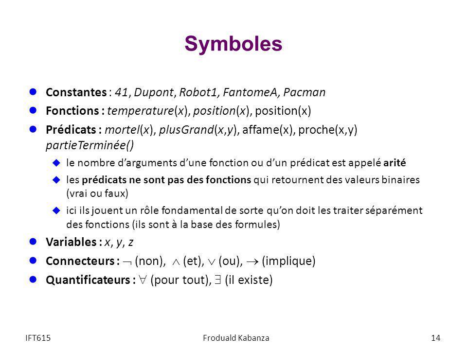 Symboles Constantes : 41, Dupont, Robot1, FantomeA, Pacman Fonctions : temperature(x), position(x), position(x) Prédicats : mortel(x), plusGrand(x,y),