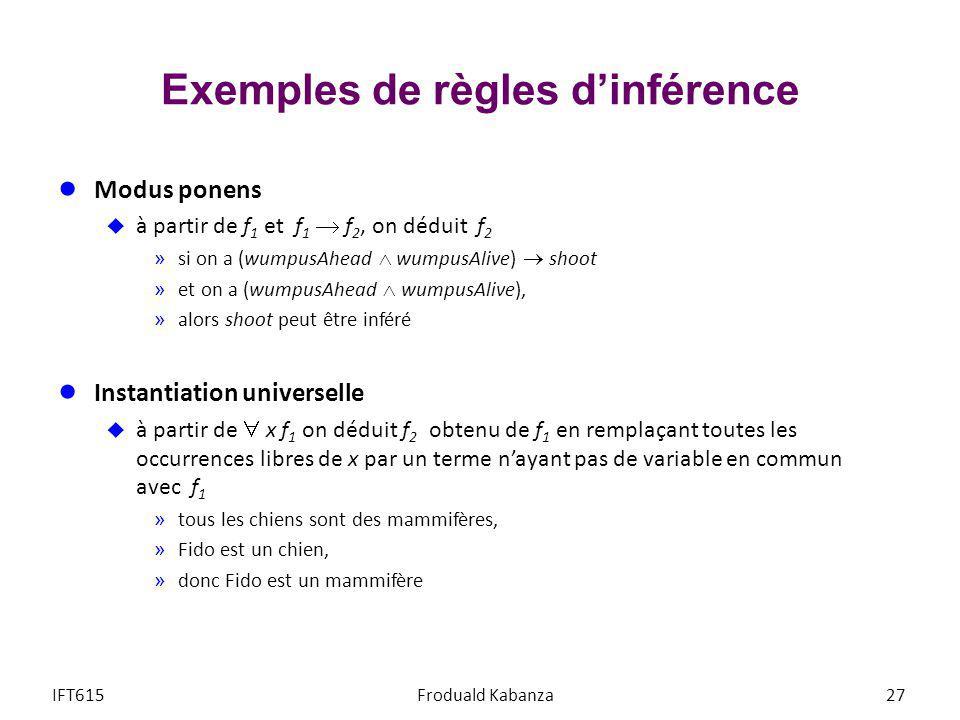 Exemples de règles dinférence Modus ponens à partir de f 1 et f 1 f 2, on déduit f 2 »si on a (wumpusAhead wumpusAlive) shoot »et on a (wumpusAhead wu