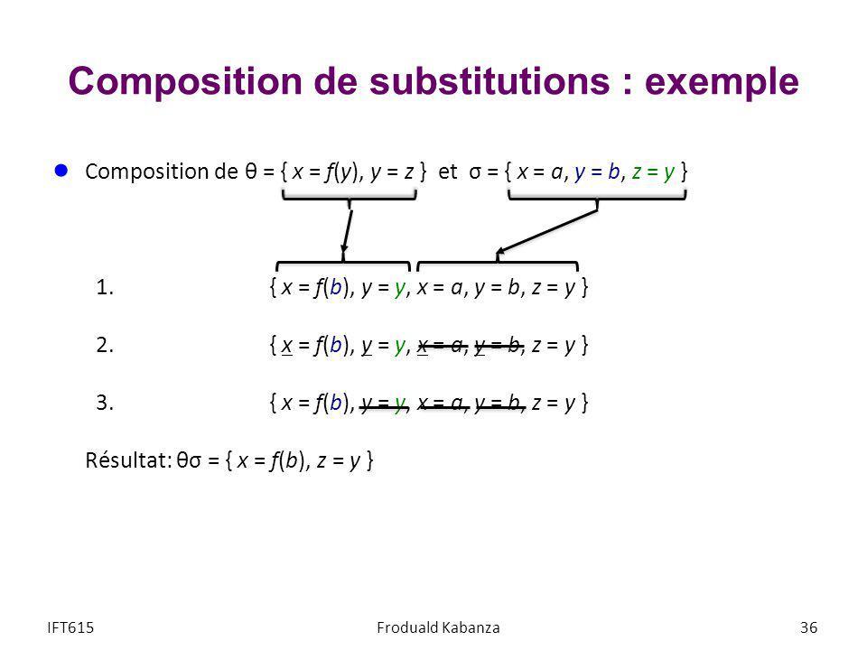 Composition de substitutions : exemple Composition de θ = { x = f(y), y = z } et σ = { x = a, y = b, z = y } 1.{ x = f(b), y = y, x = a, y = b, z = y