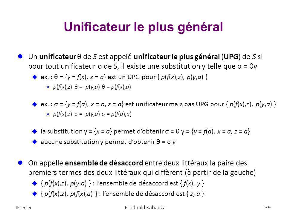 Unificateur le plus général Un unificateur θ de S est appelé unificateur le plus général (UPG) de S si pour tout unificateur σ de S, il existe une sub