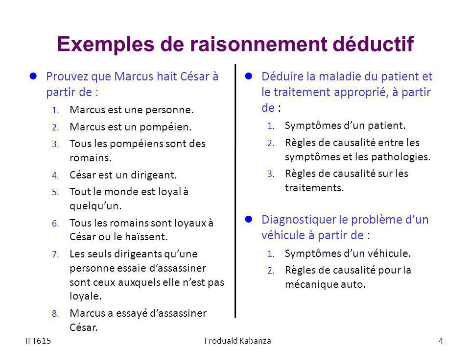 Exemples de raisonnement déductif Prouvez que Marcus hait César à partir de : 1. Marcus est une personne. 2. Marcus est un pompéien. 3. Tous les pompé