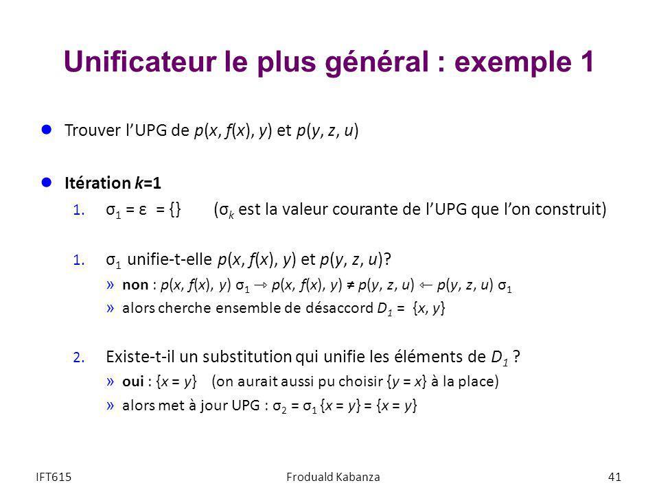 Unificateur le plus général : exemple 1 Trouver lUPG de p(x, f(x), y) et p(y, z, u) Itération k=1 1. σ 1 = ε = {} (σ k est la valeur courante de lUPG