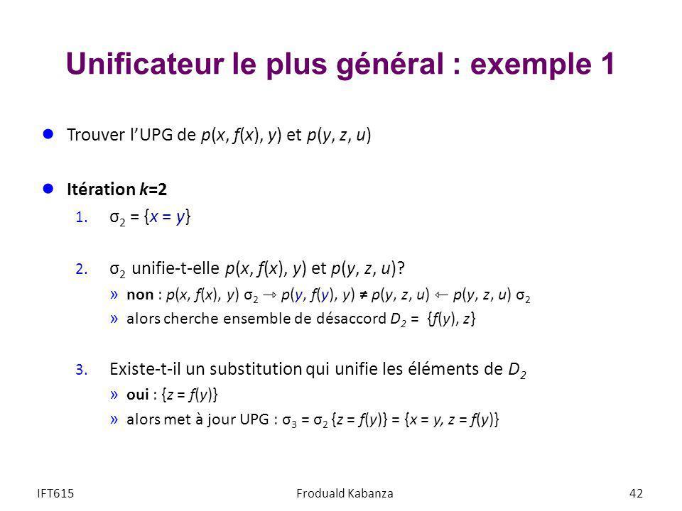 Unificateur le plus général : exemple 1 Trouver lUPG de p(x, f(x), y) et p(y, z, u) Itération k=2 1. σ 2 = {x = y} 2. σ 2 unifie-t-elle p(x, f(x), y)