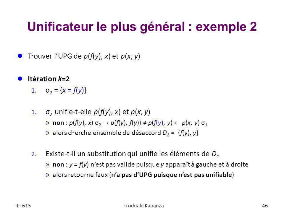 Unificateur le plus général : exemple 2 Trouver lUPG de p(f(y), x) et p(x, y) Itération k=2 1. σ 2 = {x = f(y)} 1. σ 2 unifie-t-elle p(f(y), x) et p(x