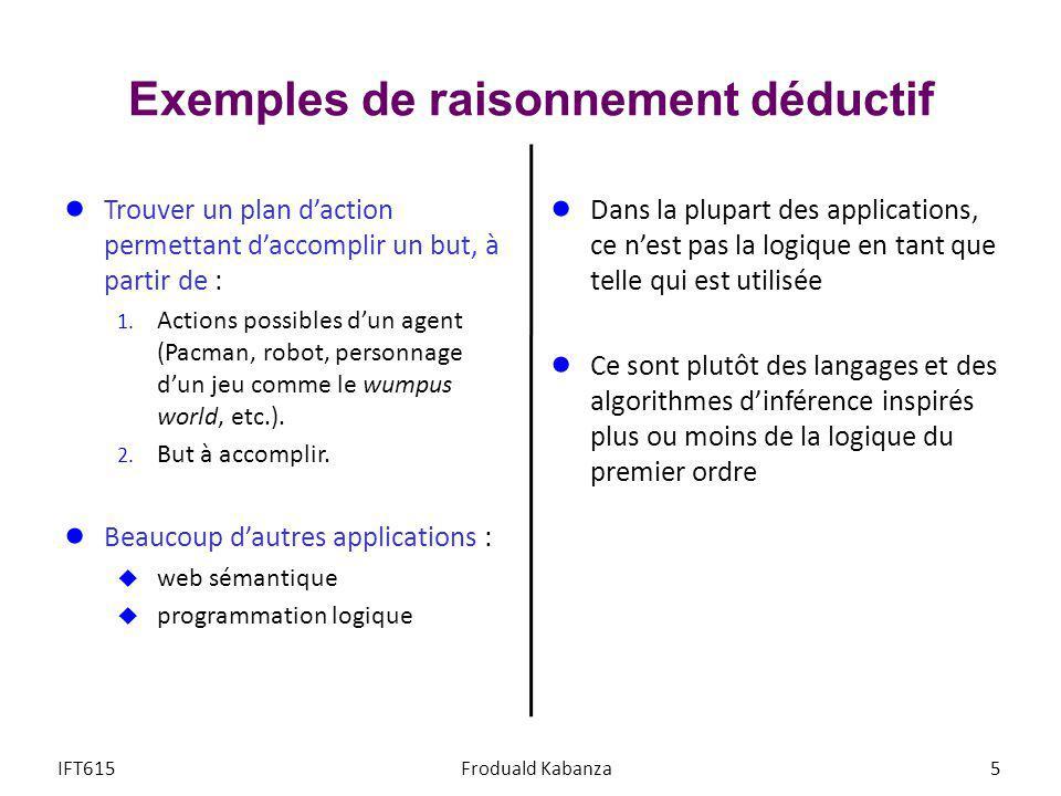 Exemples de raisonnement déductif Trouver un plan daction permettant daccomplir un but, à partir de : 1. Actions possibles dun agent (Pacman, robot, p