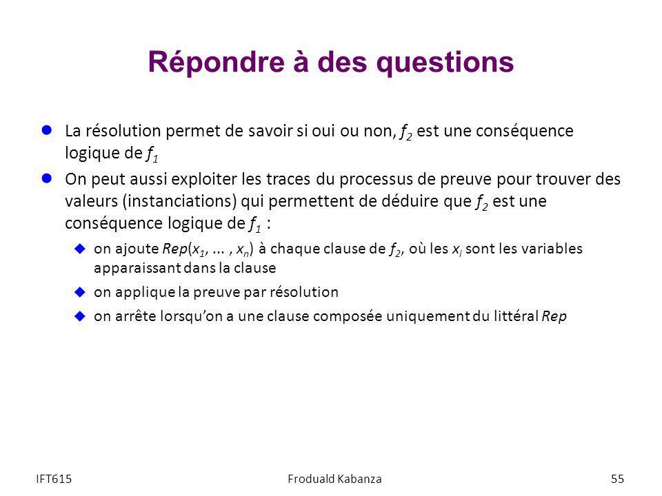 Répondre à des questions La résolution permet de savoir si oui ou non, f 2 est une conséquence logique de f 1 On peut aussi exploiter les traces du pr