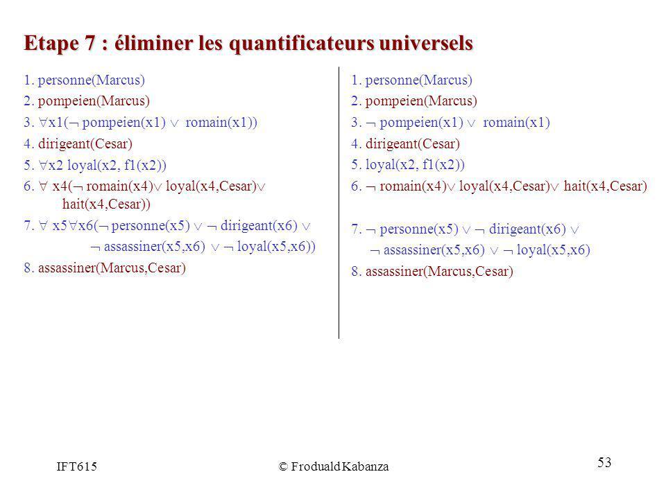IFT615© Froduald Kabanza Etape 7 : éliminer les quantificateurs universels 1. personne(Marcus) 2. pompeien(Marcus) 3. pompeien(x1) romain(x1) 4. dirig