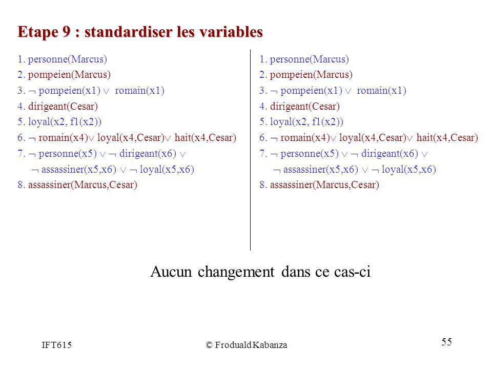 IFT615© Froduald Kabanza Etape 9 : standardiser les variables 1. personne(Marcus) 2. pompeien(Marcus) 3. pompeien(x1) romain(x1) 4. dirigeant(Cesar) 5