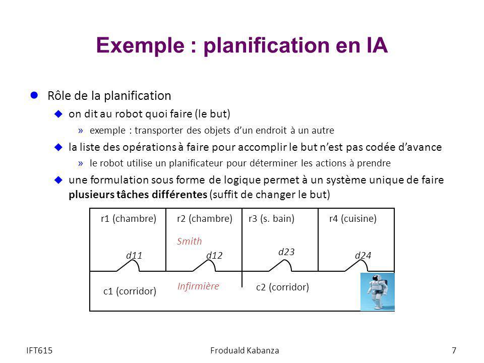 Exemple : planification en IA Rôle de la planification on dit au robot quoi faire (le but) »exemple : transporter des objets dun endroit à un autre la