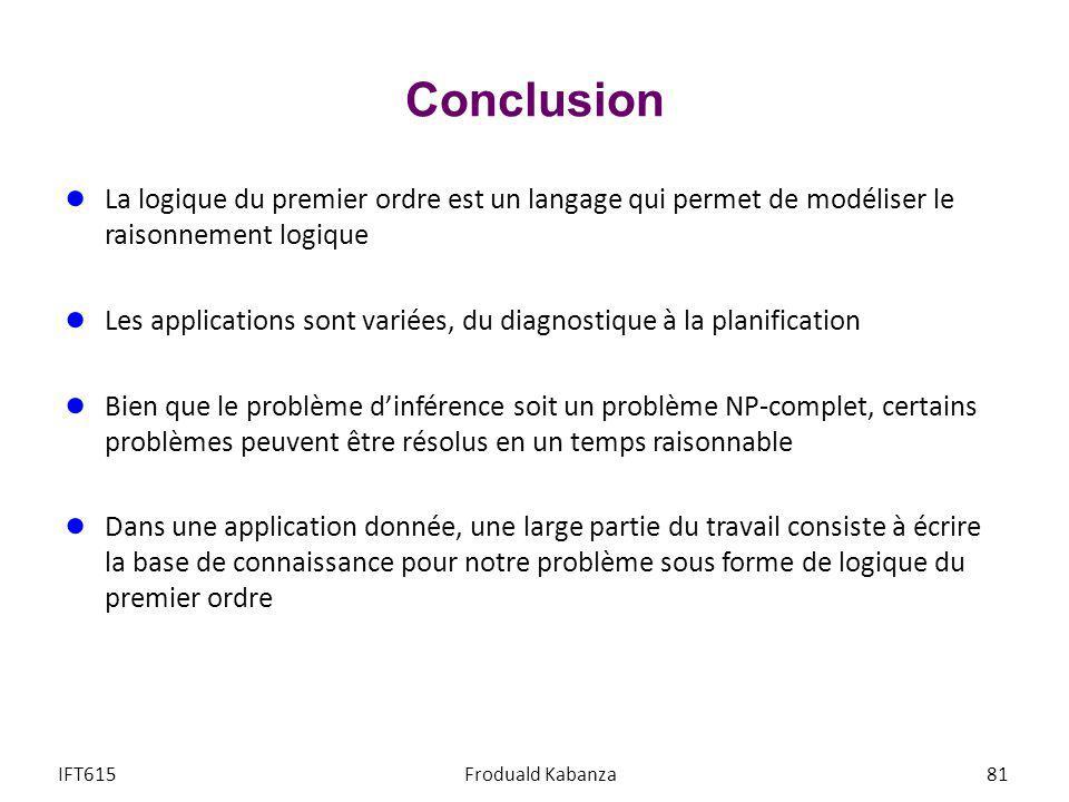 Conclusion La logique du premier ordre est un langage qui permet de modéliser le raisonnement logique Les applications sont variées, du diagnostique à