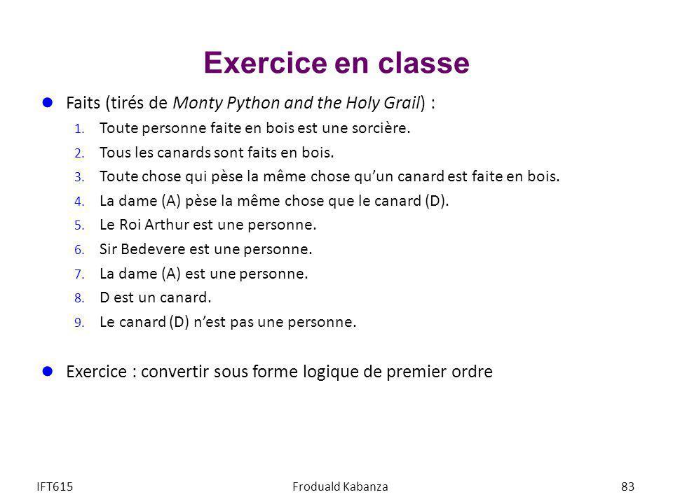 Exercice en classe Faits (tirés de Monty Python and the Holy Grail) : 1. Toute personne faite en bois est une sorcière. 2. Tous les canards sont faits
