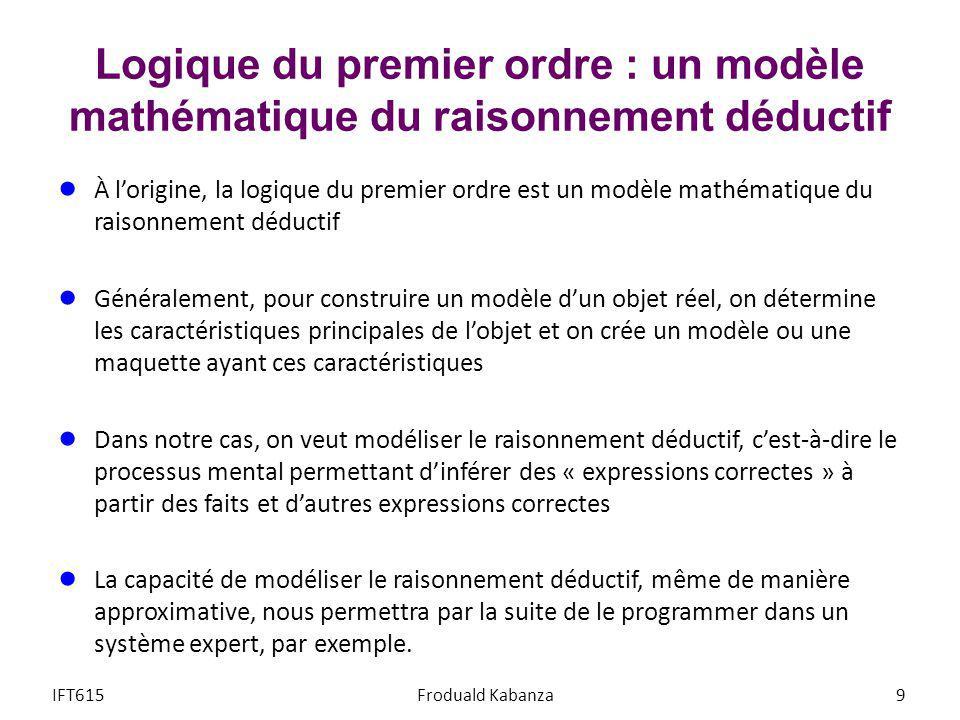Logique du premier ordre : un modèle mathématique du raisonnement déductif À lorigine, la logique du premier ordre est un modèle mathématique du raiso
