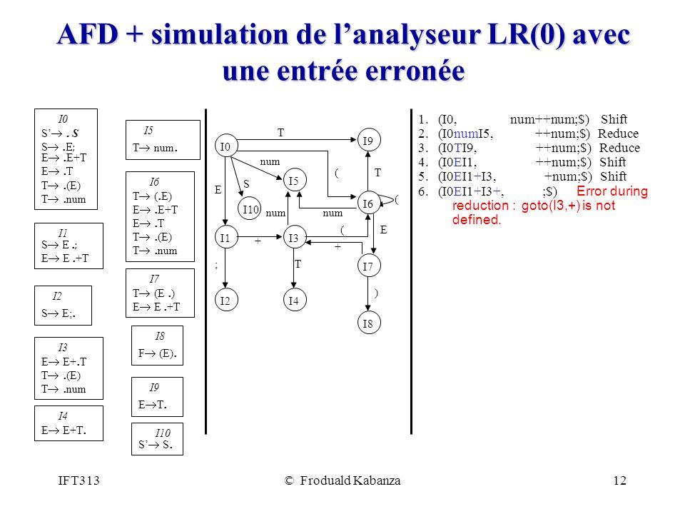 IFT313© Froduald Kabanza12 AFD + simulation de lanalyseur LR(0) avec une entrée erronée 1. (I0, num++num;$) Shift 2. (I0numI5, ++num;$) Reduce 3. (I0T