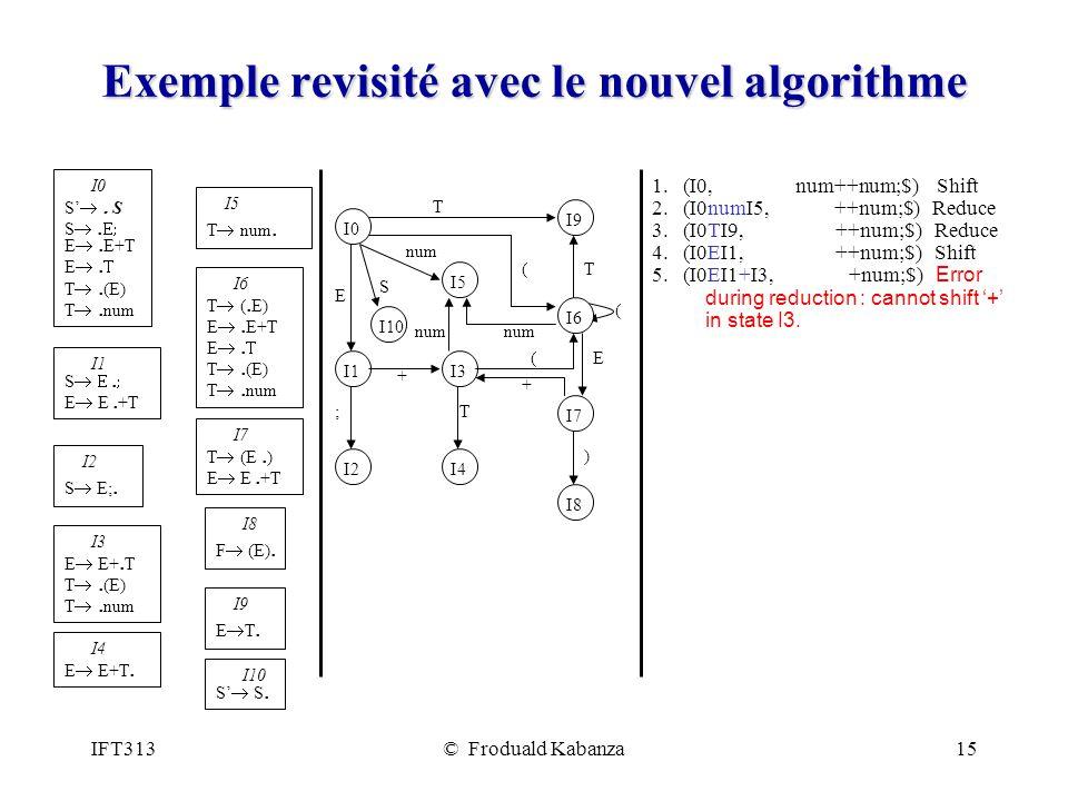 IFT313© Froduald Kabanza15 Exemple revisité avec le nouvel algorithme 1. (I0, num++num;$) Shift 2. (I0numI5, ++num;$) Reduce 3. (I0TI9, ++num;$) Reduc