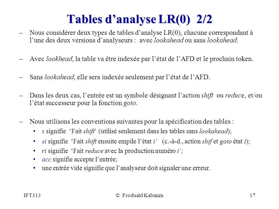 IFT313© Froduald Kabanza17 Tables danalyse LR(0) 2/2 –Nous considérer deux types de tables danalyse LR(0), chacune correspondant à lune des deux versions danalyseurs : avec lookahead ou sans lookahead.