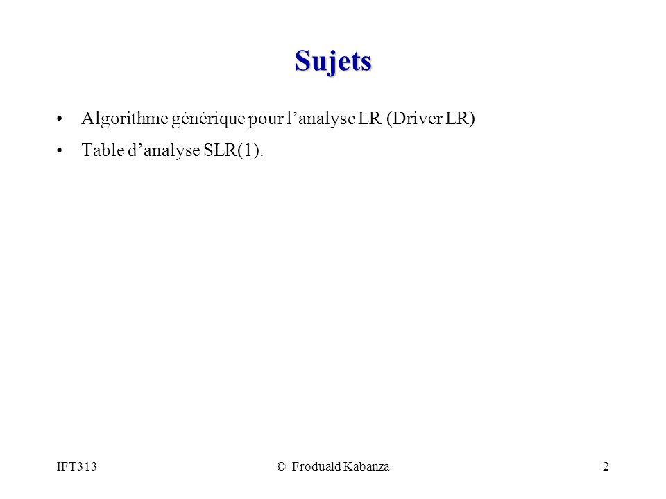IFT313© Froduald Kabanza2 Sujets Algorithme générique pour lanalyse LR (Driver LR) Table danalyse SLR(1).