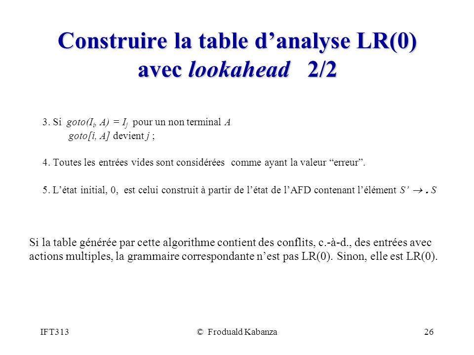 IFT313© Froduald Kabanza26 Construire la table danalyse LR(0) avec lookahead 2/2 3. Si goto(I i, A) = I j pour un non terminal A goto[i, A] devient j