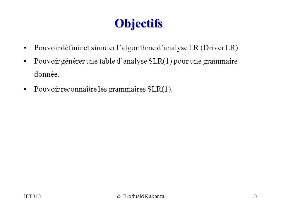 IFT313© Froduald Kabanza3 Objectifs Pouvoir définir et simuler lalgorithme danalyse LR (Driver LR) Pouvoir générer une table danalyse SLR(1) pour une grammaire donnée.