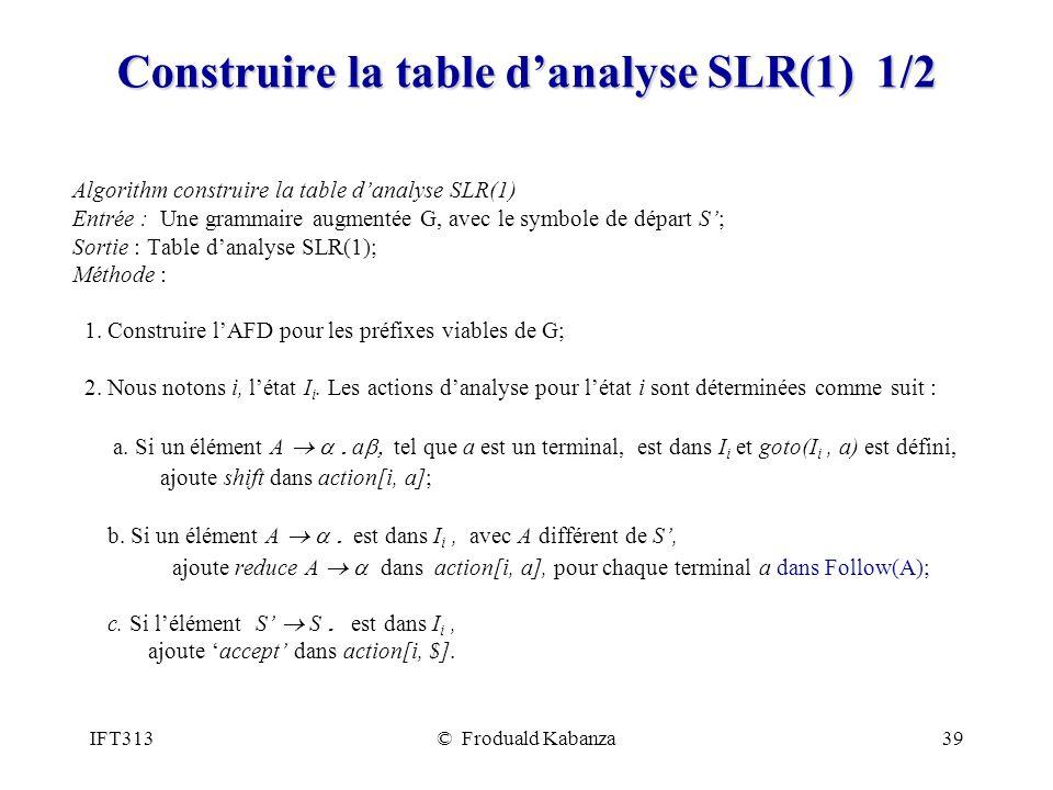 IFT313© Froduald Kabanza39 Construire la table danalyse SLR(1) 1/2 Algorithm construire la table danalyse SLR(1) Entrée : Une grammaire augmentée G, avec le symbole de départ S; Sortie : Table danalyse SLR(1); Méthode : 1.