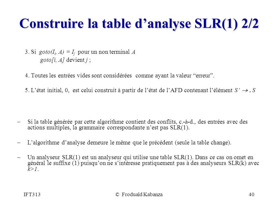 IFT313© Froduald Kabanza40 Construire la table danalyse SLR(1) 2/2 3. Si goto(I i, A) = I j pour un non terminal A goto[i, A] devient j ; 4. Toutes le