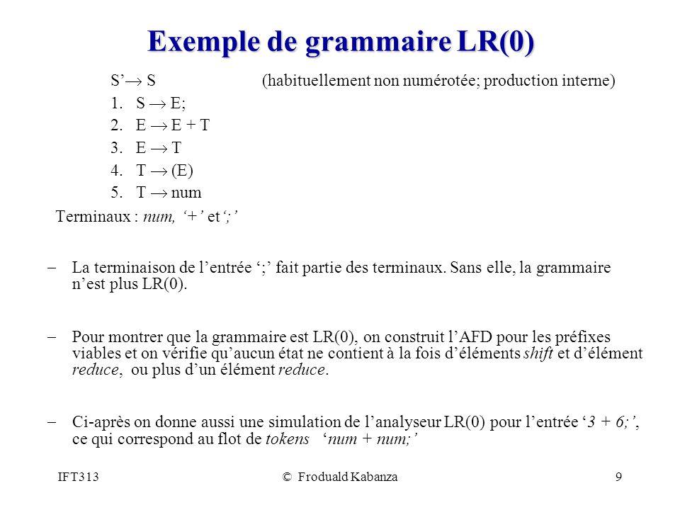 IFT313© Froduald Kabanza9 Exemple de grammaire LR(0) S S (habituellement non numérotée; production interne) 1. S E; 2. E E + T 3. E T 4. T (E) 5. T nu