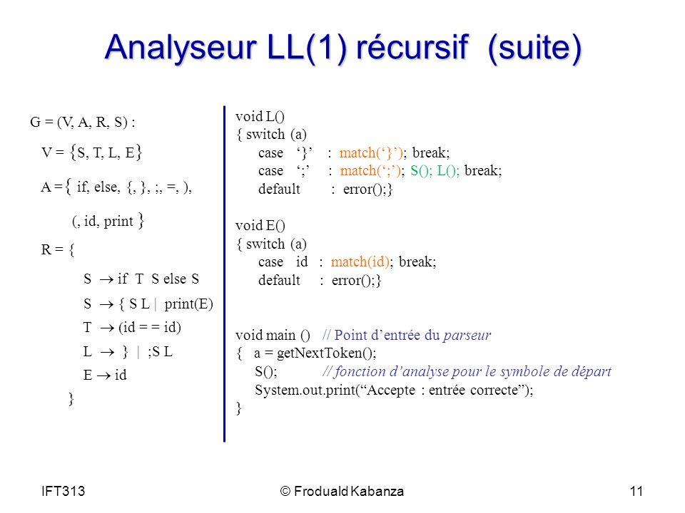 Analyseur LL(1) récursif (suite) G = (V, A, R, S) : V = { S, T, L, E } A = { if, else, {, }, ;, =, ), (, id, print } R = { S if T S else S S { S L | print(E) T id = = id) L } | ;S L id } void L() { switch (a) case } : match(}); break; case ; : match(;); S(); L(); break; default : error();} void E() { switch (a) case id : match(id); break; default : error();} void main () // Point dentrée du parseur { a = getNextToken(); S(); // fonction danalyse pour le symbole de départ System.out.print(Accepte : entrée correcte); } IFT31311© Froduald Kabanza