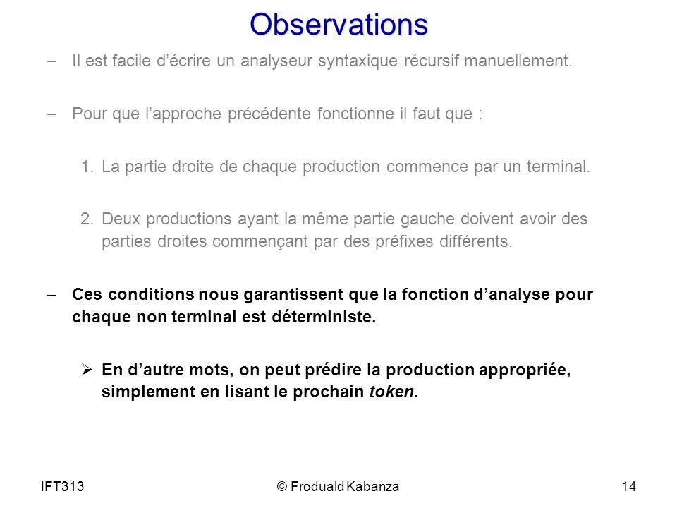 Observations Il est facile décrire un analyseur syntaxique récursif manuellement. Pour que lapproche précédente fonctionne il faut que : 1.La partie d