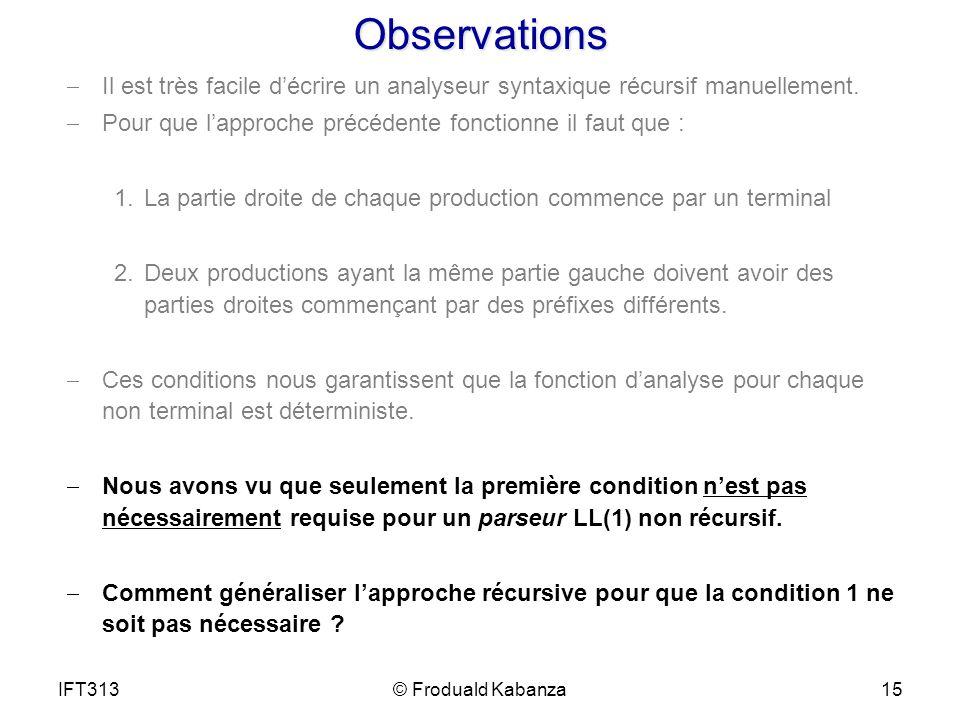 Observations Il est très facile décrire un analyseur syntaxique récursif manuellement. Pour que lapproche précédente fonctionne il faut que : 1.La par