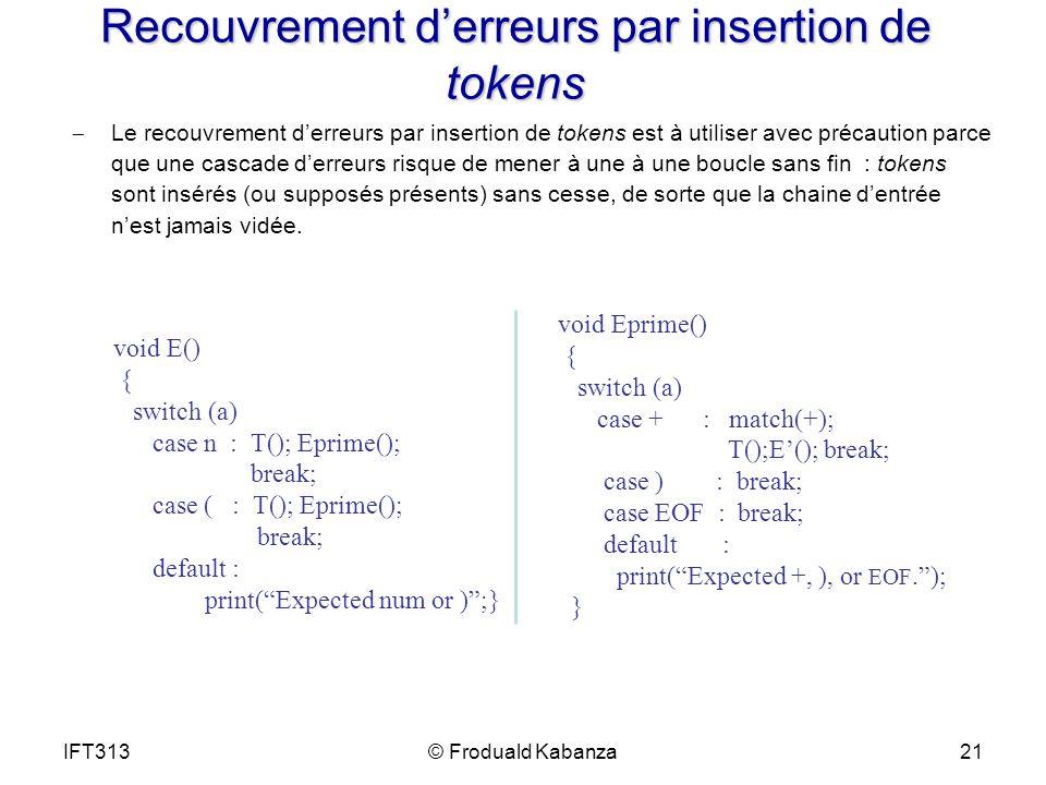 Recouvrement derreurs par insertion de tokens Le recouvrement derreurs par insertion de tokens est à utiliser avec précaution parce que une cascade de