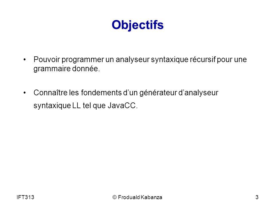 Objectifs Pouvoir programmer un analyseur syntaxique récursif pour une grammaire donnée. Connaître les fondements dun générateur danalyseur syntaxique