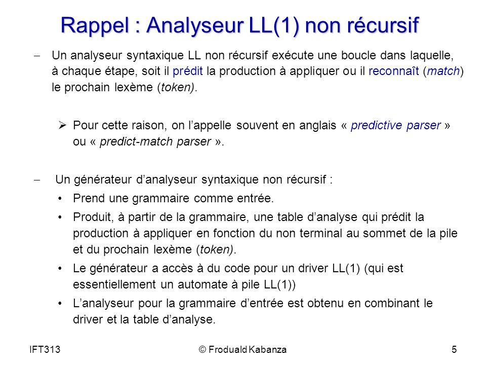 Rappel : Analyseur LL(1) non récursif Un analyseur syntaxique LL non récursif exécute une boucle dans laquelle, à chaque étape, soit il prédit la prod