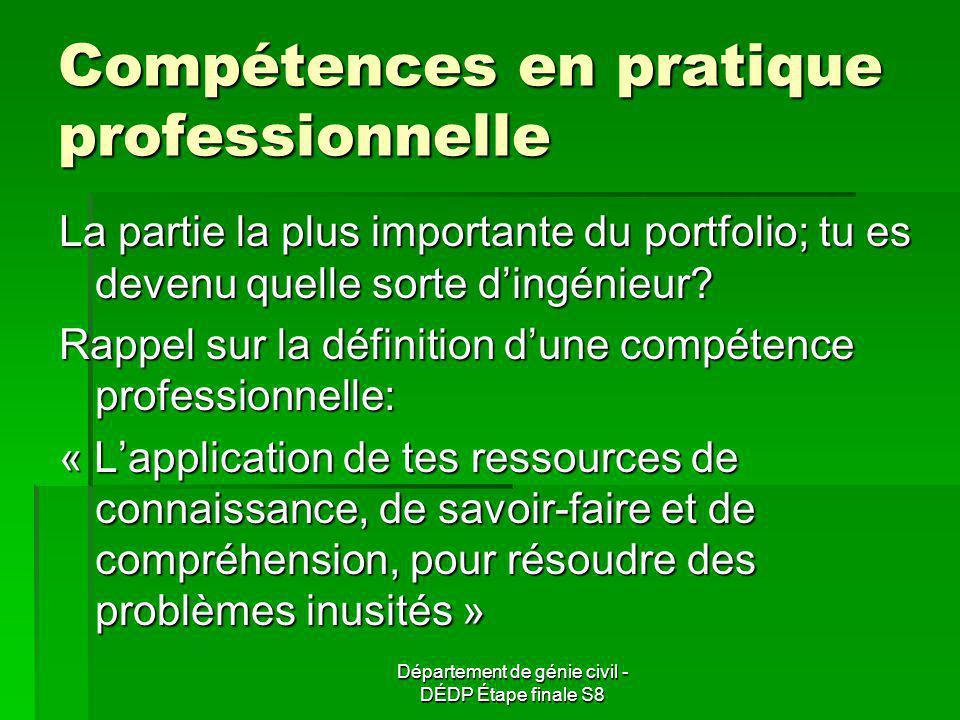 Compétences en pratique professionnelle La partie la plus importante du portfolio; tu es devenu quelle sorte dingénieur.