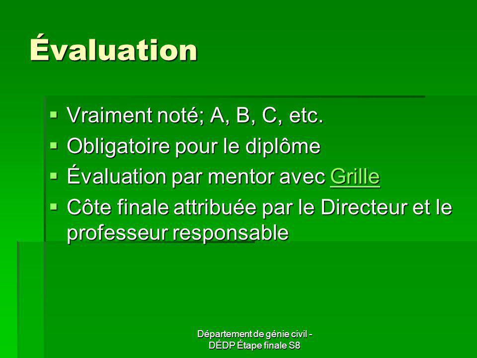 Département de génie civil - DÉDP Étape finale S8 Évaluation Vraiment noté; A, B, C, etc. Vraiment noté; A, B, C, etc. Obligatoire pour le diplôme Obl