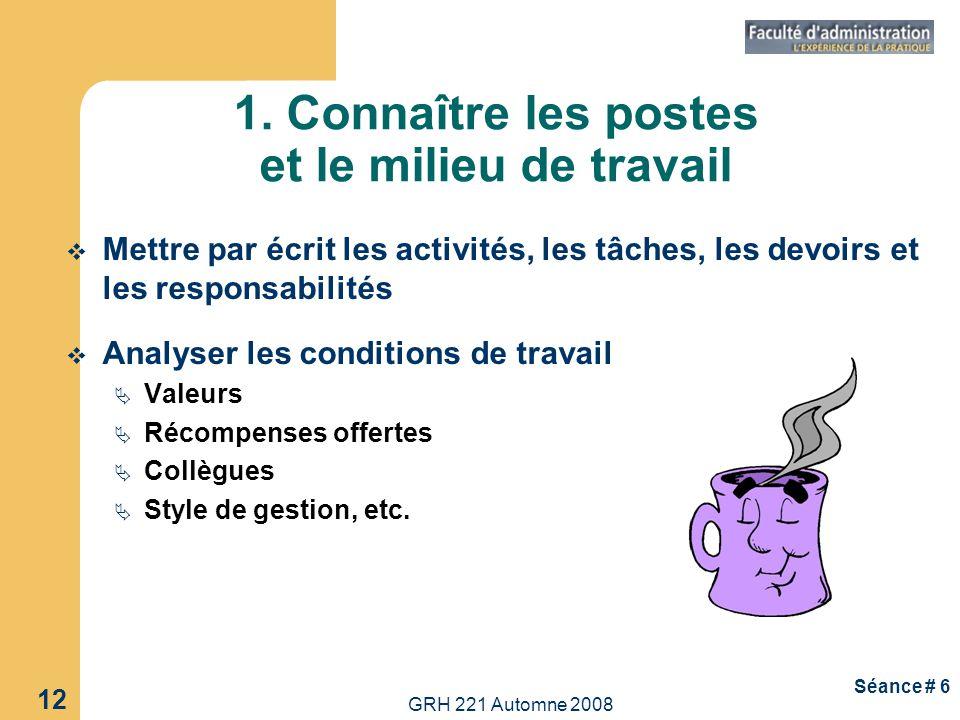 GRH 221 Automne 2008 12 Séance # 6 1. Connaître les postes et le milieu de travail Mettre par écrit les activités, les tâches, les devoirs et les resp