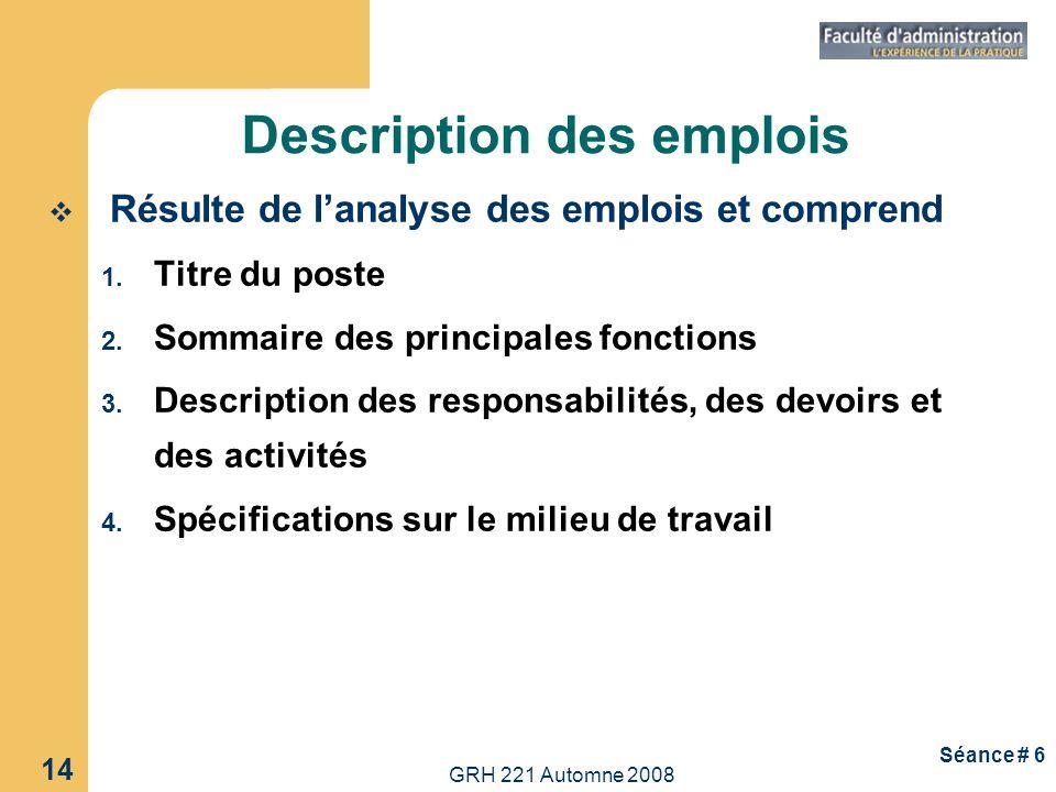GRH 221 Automne 2008 14 Séance # 6 Description des emplois Résulte de lanalyse des emplois et comprend 1. Titre du poste 2. Sommaire des principales f