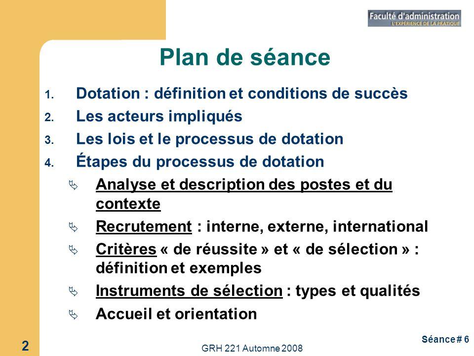GRH 221 Automne 2008 2 Séance # 6 Plan de séance 1. Dotation : définition et conditions de succès 2. Les acteurs impliqués 3. Les lois et le processus