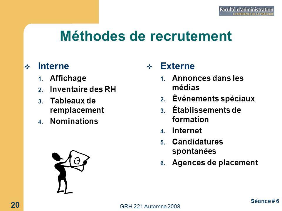 GRH 221 Automne 2008 20 Séance # 6 Méthodes de recrutement Interne 1. Affichage 2. Inventaire des RH 3. Tableaux de remplacement 4. Nominations Extern